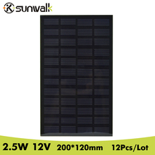 SUNWALK 12V 2.5W 12pcs Monocrystalline Solar Cell Panel PET Laminated Solar Cell for Solar System and DIY Solar Project