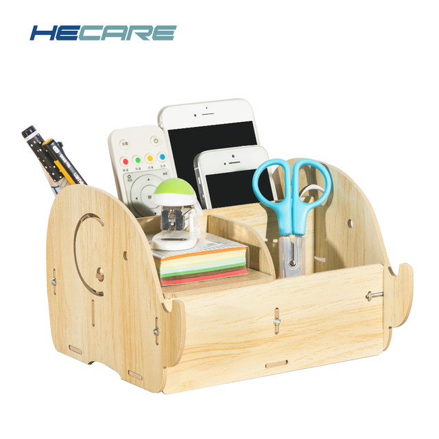 HECARE New Desktop Storage Box Home Office Organizer Desk Wooden Remote  Controller Containers Office Accessories Pen