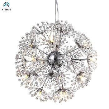 Rond Pissenlit G4 Pendentif LED Lumière Lustre En Métal Chromé Lampe Pendante Acrylique Fleurs Lampe Suspendue Pour Salon