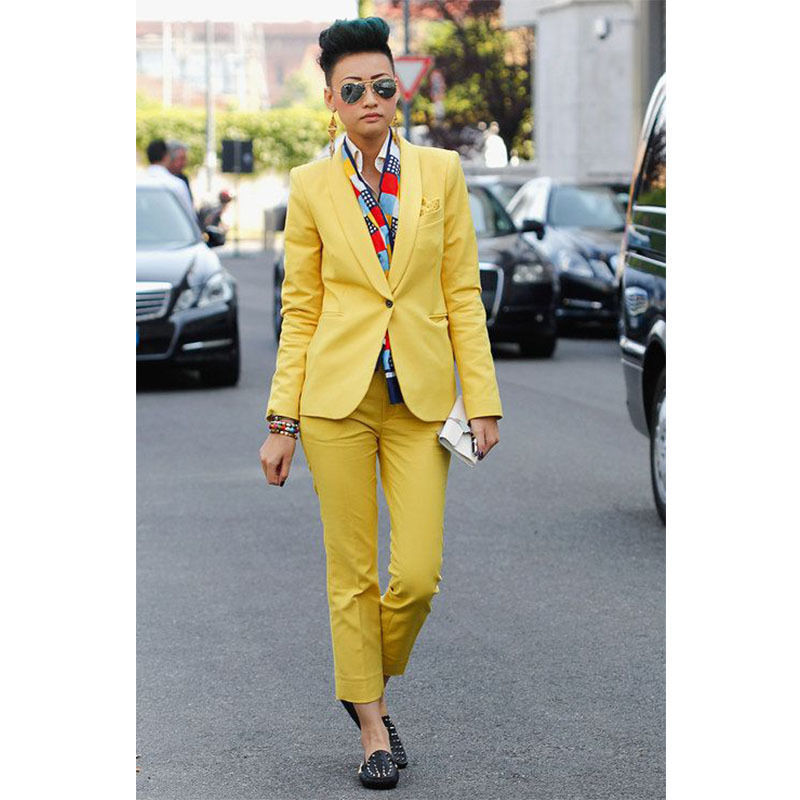 Yellow Women Business Suits Formal Office Suits Work Female Blazer Trouser Suits