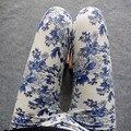 2016 НОВЫЙ национальный Этническом стиле Китайский пейзаж картины цветы брюки Фарфор отпечатано Высокая эластичность Граффити леггинсы