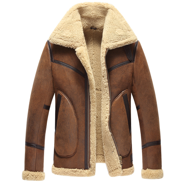 2016 Winter New Men Sheepskin Double-Face Fur Coat Genuine Leather Short Casual Thick Warm Jacket Turn-down Collar  GSJ186