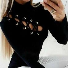Модная женская футболка с полой шнуровкой, Однотонная футболка с длинным рукавом, черная Повседневная Сексуальная футболка, пуловер, женская одежда