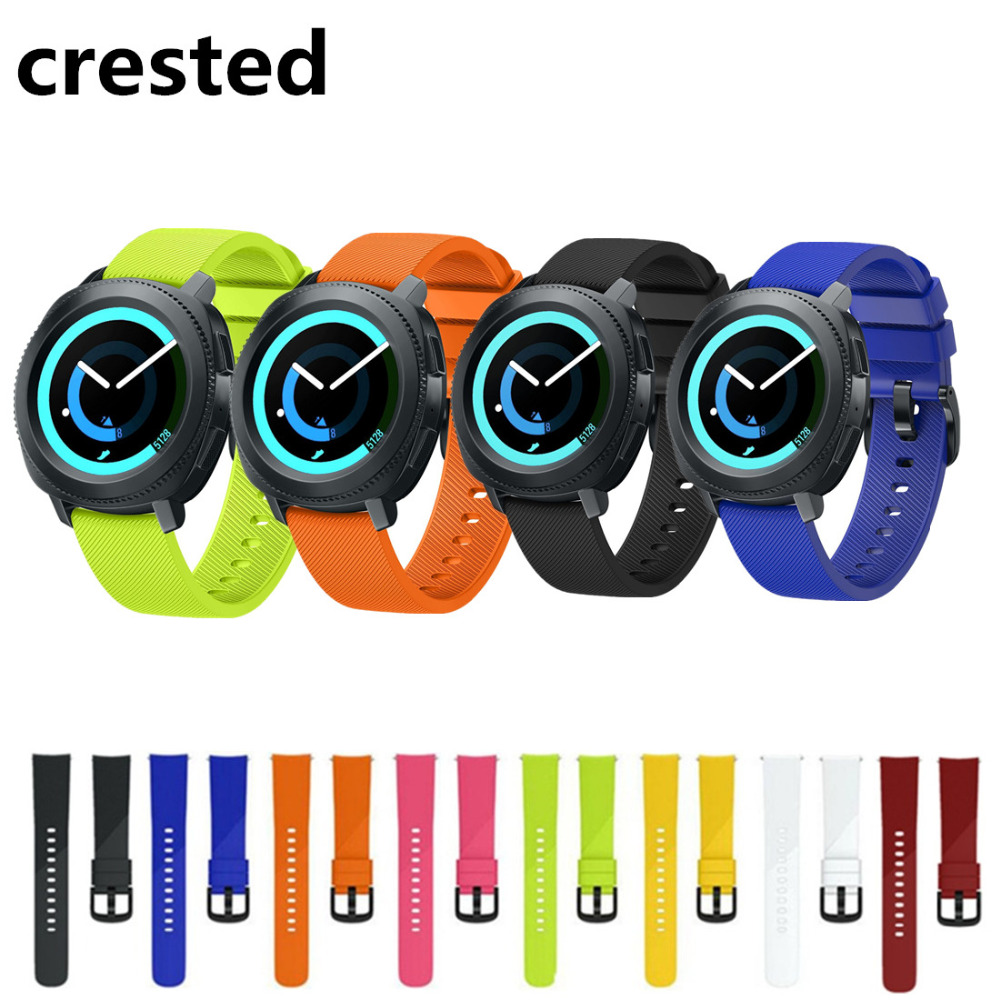 CRESTED silicone sport band For Samsung gear S2 classic strap 20mm wrist bands bracelet replacement belt smart watchband correa