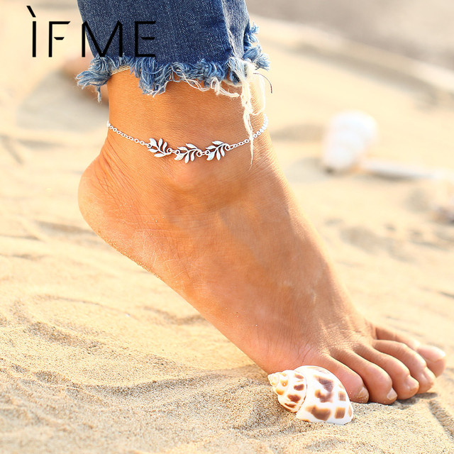 IF ME Fashion Women Silver Color Delicate Elegant Flower Chain Ankle Cute  Bracelets Alloy Sandal Beach a433cdb8b188