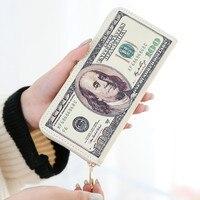 2015 New Male Baridian US 100 Dollar Bill Fake Money Long Purses Billeteras Hombre Women S