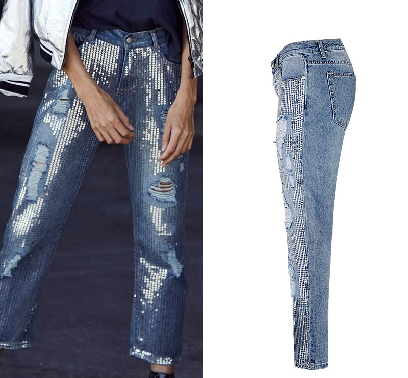 2018 Europe and the United States women`s fashion waist loose straight jeans denim pants ultra-popular metal color embroidery beads washed old holes (3)