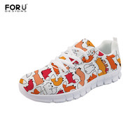 FORUDESIGNS Foxes Doodle Print Mesh Flats Shoes Woman Leisure Lace Up Breathable Mesh Shoes for Female Autumn Walking Footwear