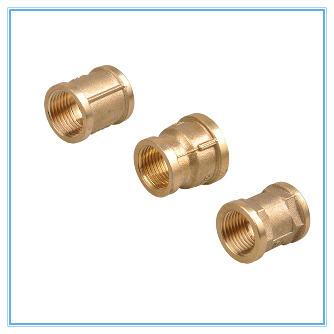 "F/F 1/2"" Female Thread Brass Pipe Fittings Rounding Nut Rod Connector Coupling Full Port  Copper"