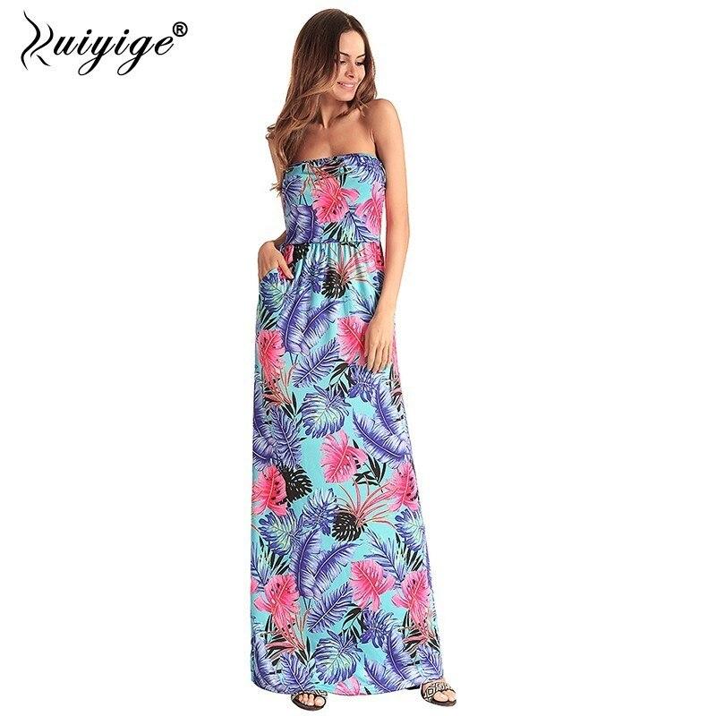 2ab24942a173f Ruiyige 2018 Summer Maxi Strapless Beach Dress Sexy Floral Print Women  Party Elegant Vestidos Sundress Boho Pockets Long Robes