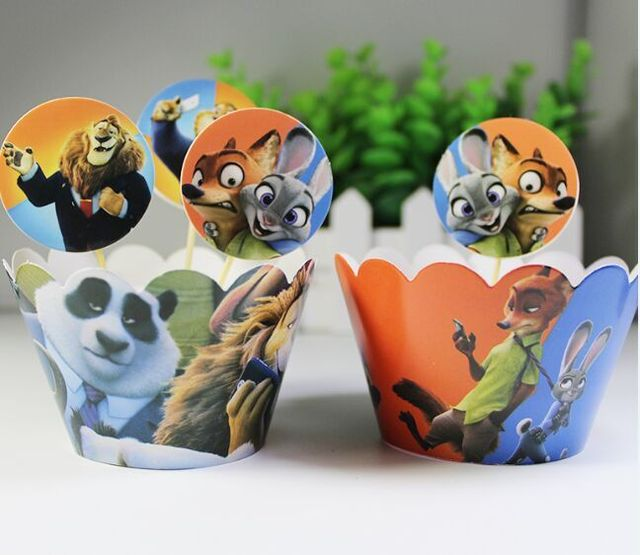 48pcs Zootopia Judy Nick Cupcake Wrappers And Toppers For Kids Birthday Party Supplies Paper Cup Cases Baby Shower Decoration