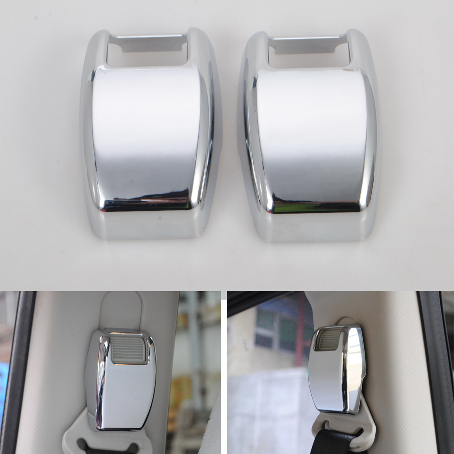 YAQUICKA 2Pcs/set Chrome ABS Car Interior Seat Safety Belt Cover Trim Styling Sticker For Jeep Compass Patriot 2011-2016
