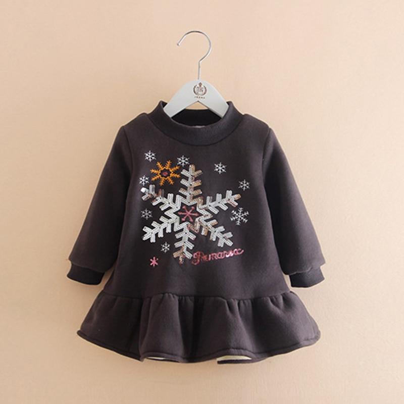 Children Girl Dress 2018 Winter Fashion Snowflake Print Kids Girls Party Dress Long Sleeve Plus Thick Velvet Kids Clothes B0724 stylish long sleeve pea print girl s dress
