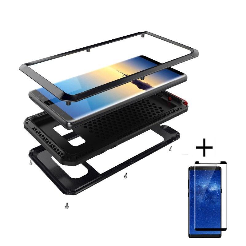 Vetro temperato Film + Per Samsung galaxy S8 S8P Nota 8 lusso Doom armatura Dirt Scossa Impermeabile di Alluminio del Metallo caso sacchetti del telefono