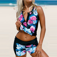 2017 Swimwear Women Female Floral Printed Zipper Swimsuits With Shorts Tankini Set Bathing Suit Beach Wear