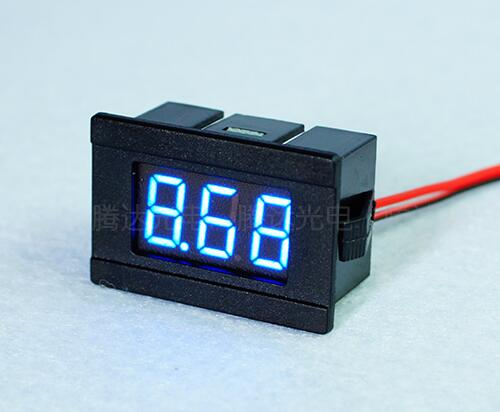 Hot sale 0.36inch <font><b>10PCs</b></font> 2 Wire Blue DC4.5-30V LED Panel digital display Voltage Meter <font><b>Voltmeter</b></font> 34mm*23mm*17mm image