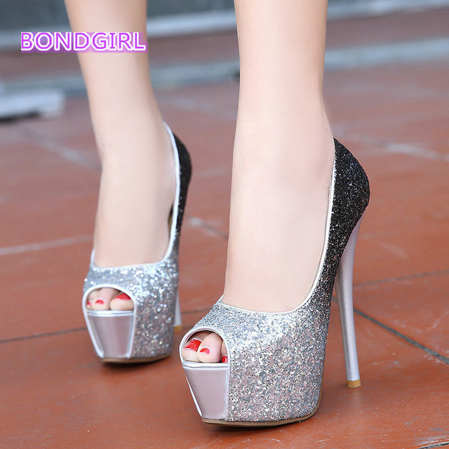2016 Bling bling party wedding shoes women high heels sequined glitter shoes  platform peep toe pumps size 34 to 39 6fad98f57312