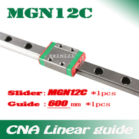Kossel Pro Miniature MGN12 12mm linear slide :1 pc 12mm L-600mm rail+1 pc MGN12C carriage for X Y Z Axies 3d printer parts cnc