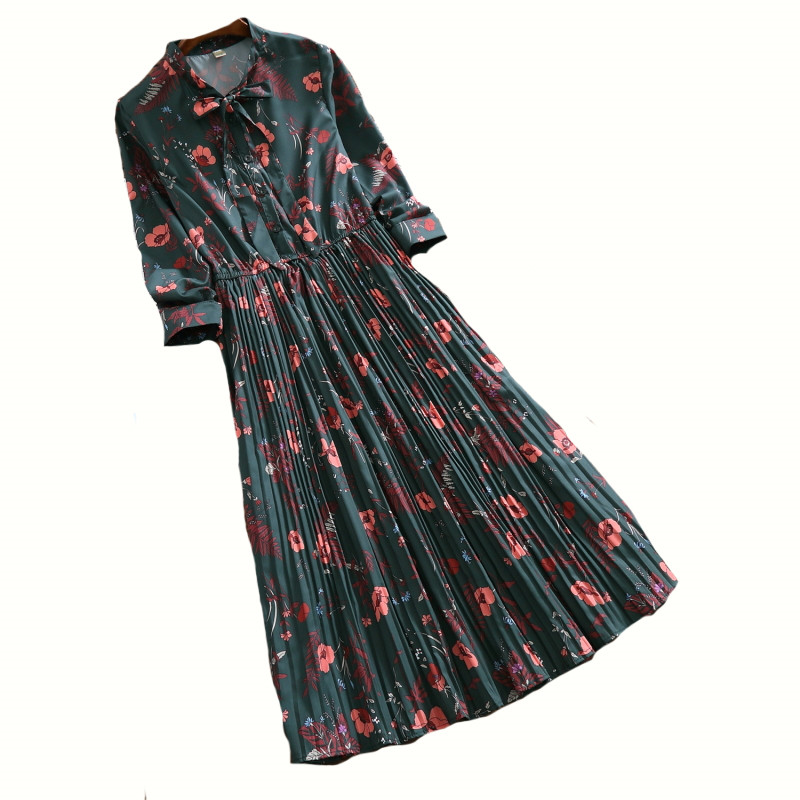 2018 New Women Chiffon Dress Fashion Spring Autumn Female Bow Long Sleeve Floral Print Dress Plus Size Loose Pleated Dress C212 floral chiffon dress long sleeve