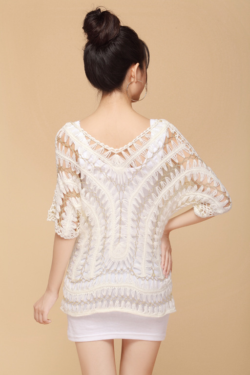Aliexpress.com  Buy Handmade Crochet Sweaters 2017 Women Elegant Hollow  Out Batwing White Golden Woolen Sweater Smock Pullover Blusas Femininas  2075 from