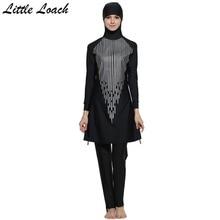Cheap Girl's Printed Islamic Swimsuits Muslim Women Hijab Swimwear Full Cover Sunscreen Breathable Modest Islamic Beachwear Size S-4XL