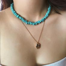 Shell Double Necklace Bohemian Blue Multi-layer Female Folk Handmade Accessories Gifts
