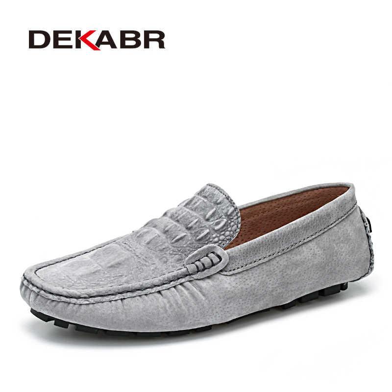 DEKABR повседневные кожаные туфли для мужчин Крокодил Стиль обувь Лоферы  Высококачественная брендовая одежда Туфли без 78ffb29c380