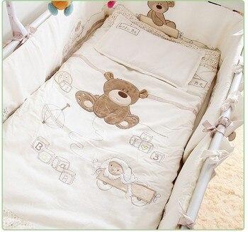 7PCS Embroidery Cotton Baby Bedding Set Cartoon cama infantil Crib Bedding Detachable Cot Quilt ,(bumpers+duvet+sheet+pillow)