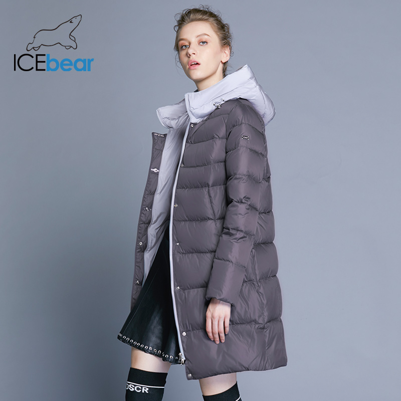 Icebear 2018 New Hooded Girl Coat Winter Slim Jacket Excessive High quality Model Clothes Design Windproof Heat Parkas Gwd18192I
