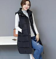 In the long paragraph feather cotton vest jacket female 2017 autumn and winter new hooded wool ball