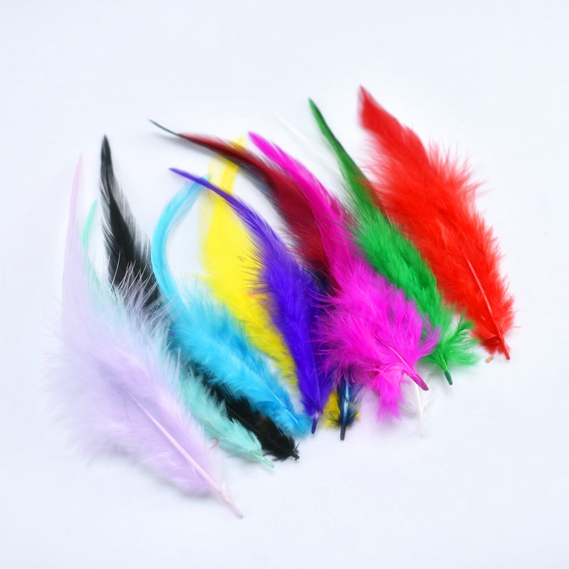 Top quality plumas 20pcs Purple Chicken Feather for Crafts 10 15cm DIY Natural Feathers Jewelry Home Christmas Party Decorative in Feather from Home Garden