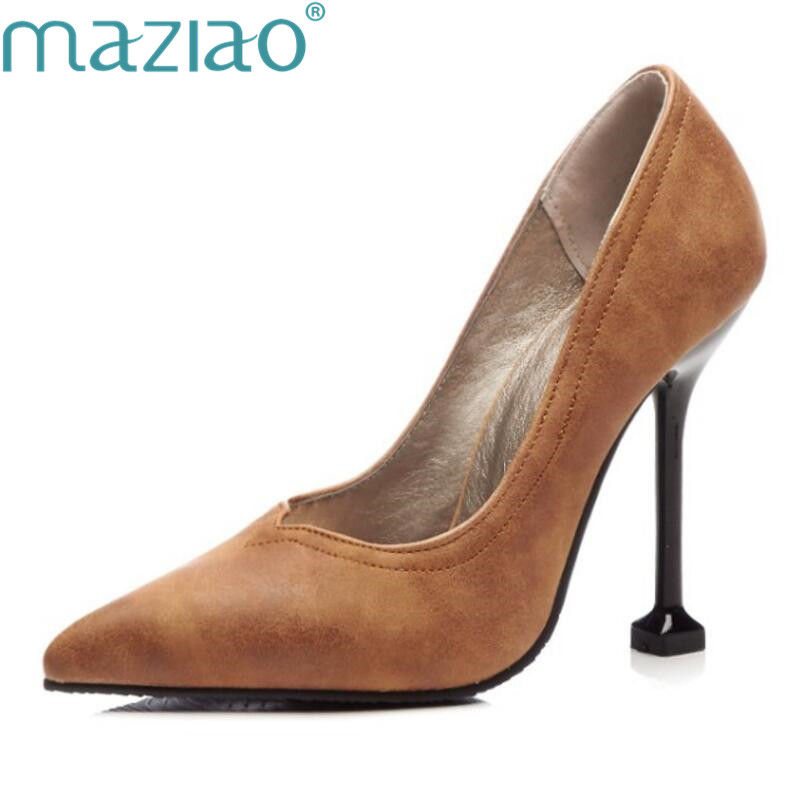 Pointed Toe Roman thin heels High Heels wine red brown Women Pumps Brand Comfortable Retro Party Shoes Plus Size MZIAO 2017 high heels ankle strap pointed toe thin zipper plus size ultra wine red unique pumps green shoes for women 9 40 sexy