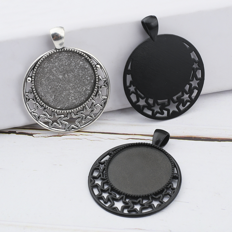 5Pcs/Lot 25mm Inner Size Black Antique Silver Moon Necklace Cameo Cabochon Base Pendant Base Tray Bezel Blank For Jewelry Making