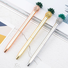 1.0mm Colorful Metal Pineapple Ballpoint Pens For Writing Kawaii Signature Golden Pen School Office Supplies
