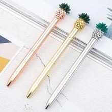 1.0mm Colorful Metal Pineapple Ballpoint Pens For Writing Kawaii Signature Golden Pen School Office Supplies