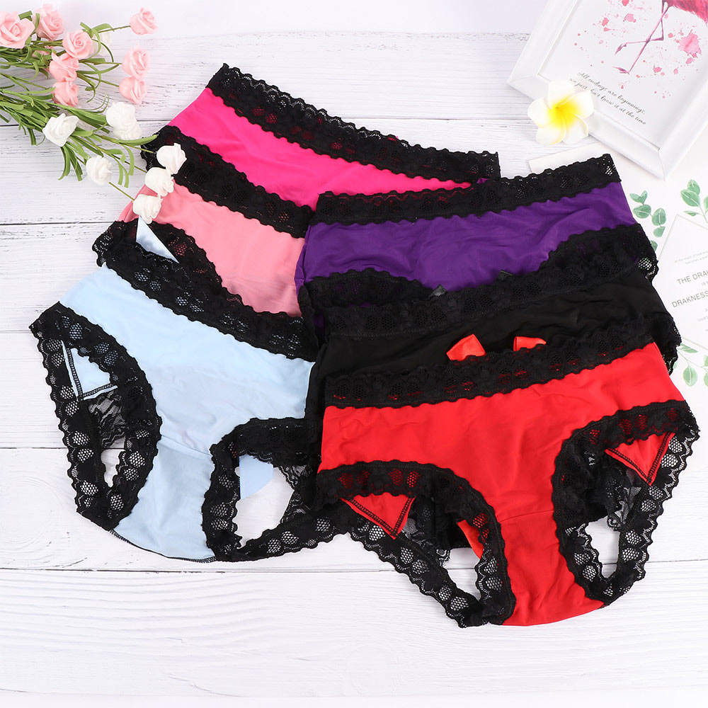 Sexy Women Open Butt Lace Bowknot Sexy Lingerie Panties Semi Crotchless Knickers Briefs Temptation Underwear For Ladies