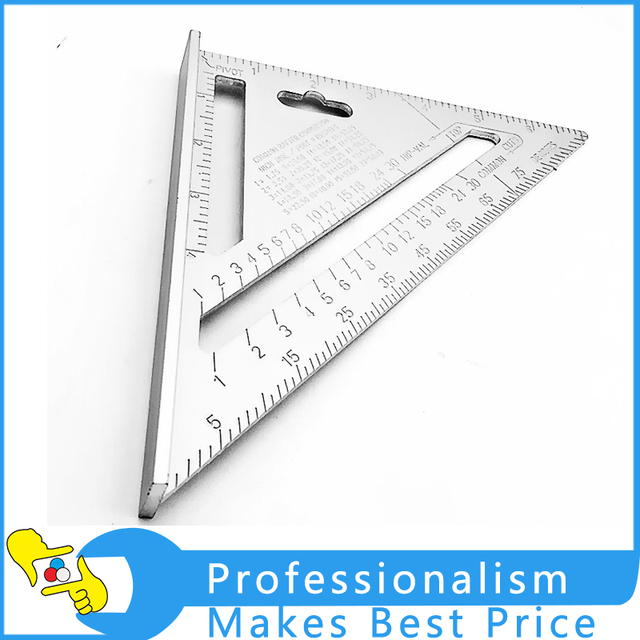 Protractor Try Square Carpenter's Measuring Layout Tool7inch Silver Aluminum Alloy Speed Square Roofing Triangle Angle