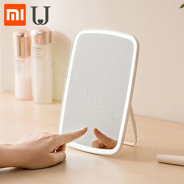Xiaomi Espejo LED plegable portátil para maquillaje, espejo de luz Natural LED para dormitorio, hogar, escritorio, batería larga