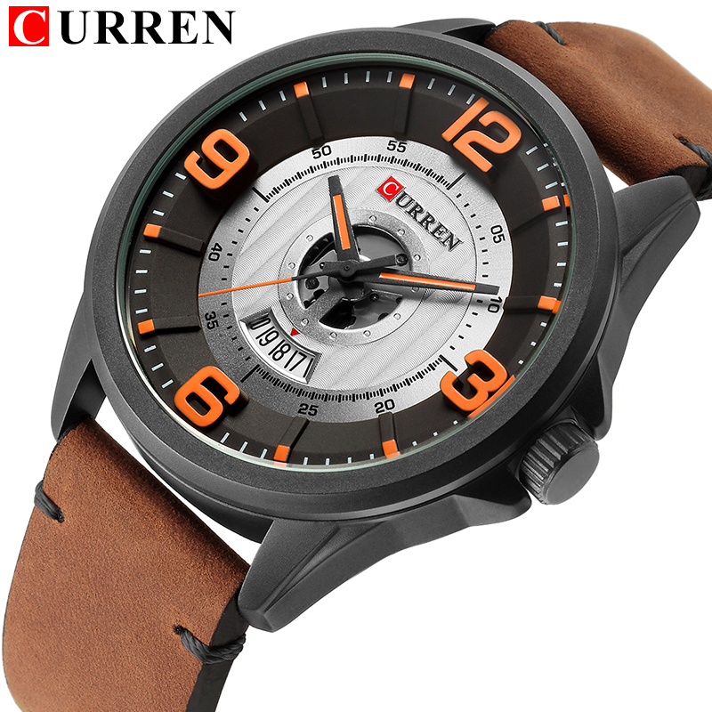 CURREN Fashion&Casual Business Wristwatches Leather Strap Quartz Mens Watches Display Date Clock Hodinky Relogio Masculino relogio masculino curren luxury watch men fashion casual sport wristwatches mens leather business quartz watches male date clock