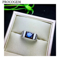 Натуральный Srilanka кольца с сапфиром Для для мужчин подарки 5x7 мм 1.0Ct Подлинная синие драгоценные камни Новый тонкой обручение Jewelry серебро 925