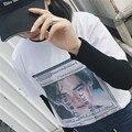 2016 Verão de Moda de Nova Fresco Moderno Bonito Impresso Solto Casual de Manga Curta T-shirt Feminina