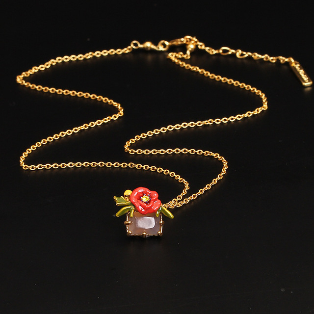 New Arrivals Be Listed Enamel Glaze Red Rose Floret Crystal Gold-plated Necklace Clavicle Chain Woman