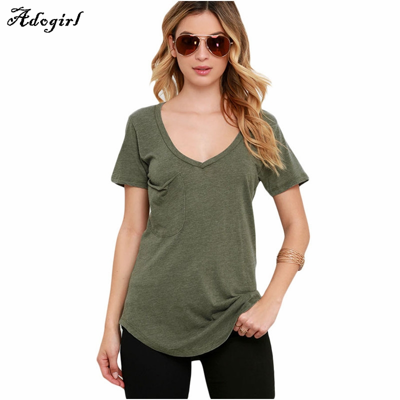 Women Basic Solid Tshirt Modal Loose Simple Pocket T Shirts 2016 New Ladies Casual V Neck