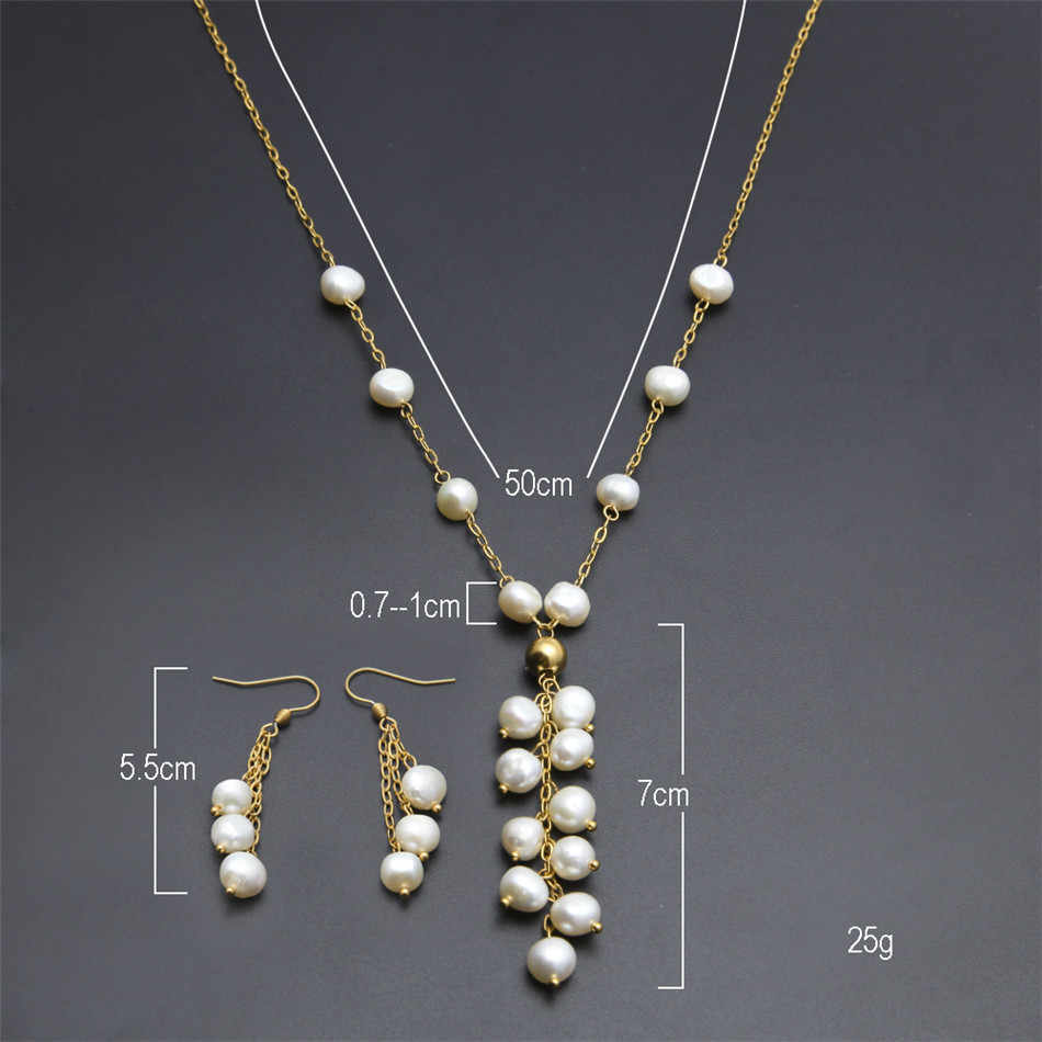 Women Fashion Pearl Jewelry Set Stainless steel Gold Chain White Real Natural Freshwater Pearl Tassel Necklace Drop Earring Set