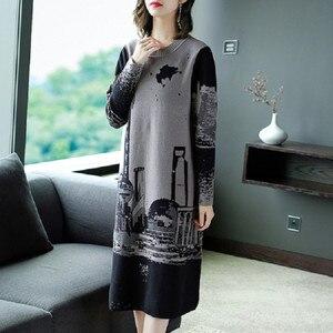 Image 3 - Vestido tejido de manga larga para mujer, Jersey Vintage, cuello redondo, M, L, XL, XXL, alta calidad, novedad de 2019