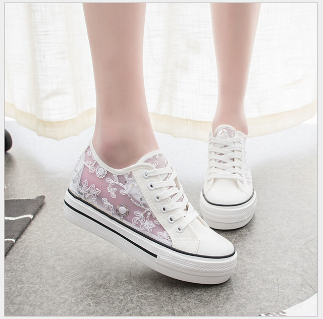 2017 spring Summer women canvas shoes new increased cloth shoes breathable Students casual shoes