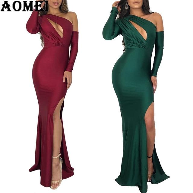 2973313d6e Sukienki Maxi Party Wear dla kobiet jedno ramię drążą klatki piersiowej wysoka  podziel długie szaty Sexy noc Clubwear Bodycon kobiet tuniki