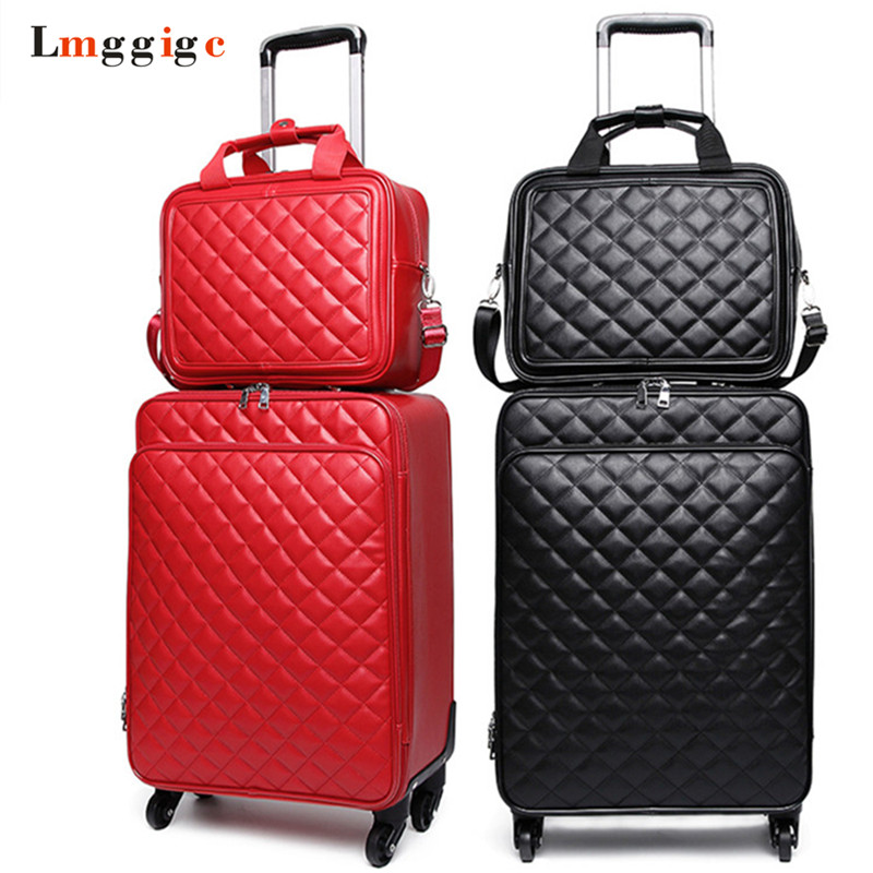 Women 's Waterproof PU Leather Travel Rolling Luggage Suitcase Bag Trolley Case Set, New 16