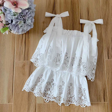 Baogarret Runway Designer Women White Black Strap Cotton Floral Embroidery Hollow Out Elegant Party Beach Tops