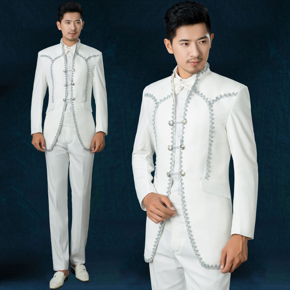 Chinese style stand collar embroidery The royal palace white wedding ...